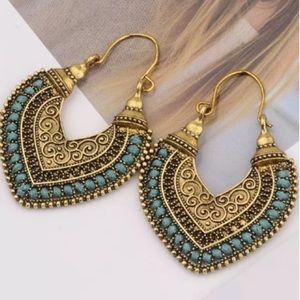 Boho Heart Earrings with Mint Green Thread Detail